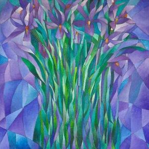 """""""Iris"""" acrilico su legno telato"""